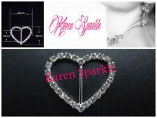 10 x Heart Diamante Ribbon Slider Grade A 16mm Inner Bar (Rhinestone, buckle vh)