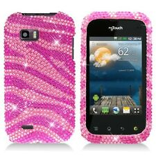 For T-Mobile LG myTouch Q Crystal Diamond BLING Hard Case Phone Cover Pink Zebra