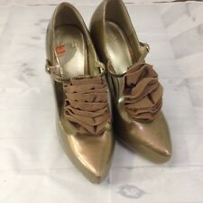 Faith Gold Patent T-Bar Pointed Toes High Heels With Ruffle Detailing Size 5