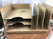 Vintage Industrial Brown Metal Desk Paper Organizer 3 Trays Mid Century