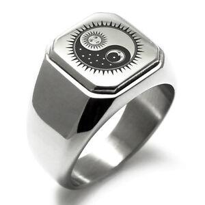 Stainless Steel Sun & Moon Design Yin Yang Mens Square Biker Style Signet Ring