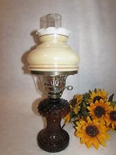VTG BROWN HOBNAIL W IRIDESCENT MILK GLASS HURRICANE SHADE BED STAND TABLE LAMP