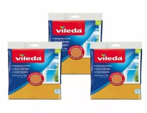 X 3 Packs VILEDA WINDOW & Glass Cleaning Clothes  Clean Streak Free Finish