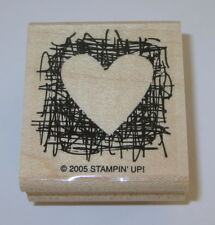 "Heart Rubber Stamp Made From Scratch Stampin Up Retired Wood Mounted 1 3/4"" High"