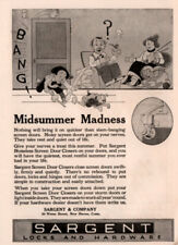 1920 D AD SARGENT LOCKS HARDWARE MOM KNITTING DOG SON BANG SCREEN DOOR CARTOON