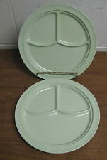 Two (2) Vintage Prolon Divided Melmac Green Plates 9927