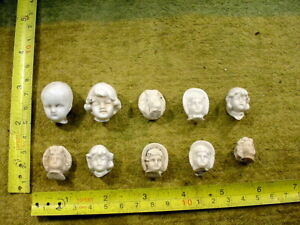 10 x excavated damaged vintage victorian bisque doll head age 1890 Germany 14873