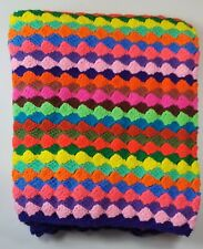 Throw Blanket Crocheted Lap Afghan Small Blanket Handmade Bright Colors