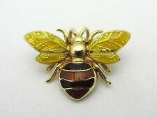 Estate Little Bee Pendant Enamel Detailed 14k Yellow Gold Signed Insect Bug