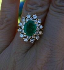 2.30Ct Oval Cut Emerald & Diamond Cluster Engagement Ring 14K Yellow Gold Over