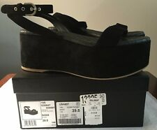 CHANEL BLACK SUEDE QUILTED LEATHER PLATFORM WEDGE SANDALS  SZ 9  39.5 Italy $875
