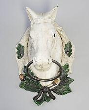 Hierro fundido Sostenedor de la toalla Cabeza de caballo blanco NUEVO 9937904