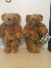 "Lot of 2 The Vermont Teddy Bear Company 16"" Brown Jointed Teddy Bears Plush"