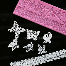 Silicone Butterfly Lace Fondant Chocolate Cake Decorating Baking Mat Mould Tools