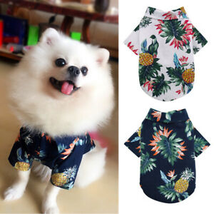 Spring Summer Pet Dog Hawaiian Shirt Beach Clothes Vest Floral Printed T-shirt