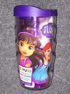 Tervis Tumbler Cup 10 oz Dora The Explorer Vamos Amigas Wavy Wrap Purple Lid NEW