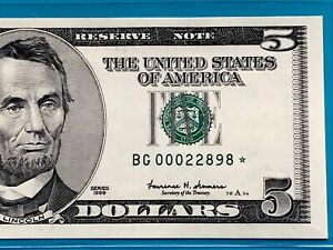 1999 STAR NOTE $5 DOLLAR BILL (CHICAGO) LOW SERIAL NUMBER ,UNCIRCULATED