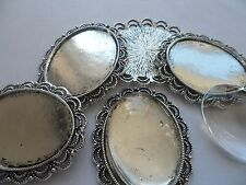 Vintage Silver Pendant Making Kit 3 settings & Cabochons.50x40mm,tray 40x30mm