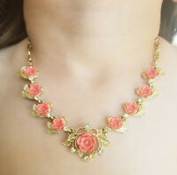 Vintage faux Coral Necklace  Maker unknown - beautiful setting - very delicate