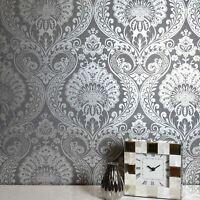 Gunmetal Argent Luxe Damas Papier Peint par Arthouse 910307 - Floral, Métallique