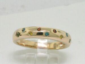 Brillant Band Ring 585 Gelbgold 14Kt Gold  9 Brillanten farbige Brillanten