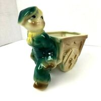 Shawnee Planter Boy Pulling Cart Vintage USA 750 Pottery Decorative Figurine