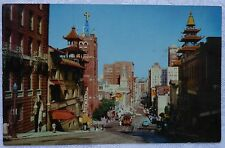 vintage postcard SAN FRANCISCO Cable Cars in CHINATOWN CA  CHROME Era C4 23
