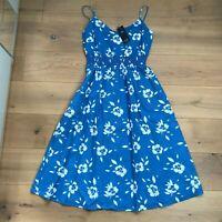 M&S Blue Floral Cotton Dress BNWT UK12 EU40 Strappy Midi
