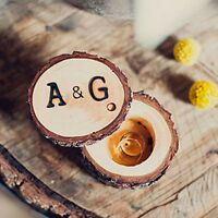 Personalised Rustic Outdoor Wedding Ring Bearer Wooden Ring Box Holder Hand Made