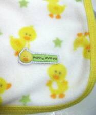 Carter's Yellow Duckies & Green Stars on White Baby Blanket *Mommy Loves Me* Euc
