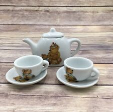 Vintage Miniature Porcelain Teddy Bear Child Toy Tea Set 6 pieces