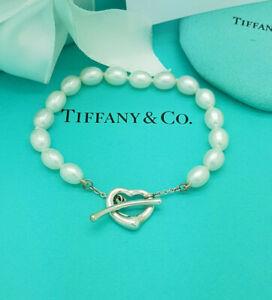 """Tiffany & Co. Elsa Peretti Silver Open Heart Pearl 7.5"""" Bracelet, RRP £755"""