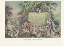 "1974 Vintage Currier & Ives FARM LIFE ""HAYING TIME, LAST LOAD"" COLOR Lithograph"