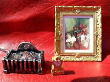 dollshouse 1/12  detailed fire grate 12v picture in frame and a clock miniature