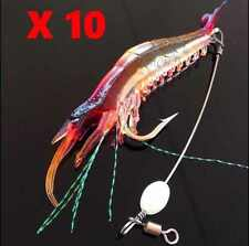 10 Soft Plastic Fishing Lures Tackle Prawn Shrimp Glow Bait Flathead Bream Lure