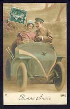 SUPERBE cpa FANTAISIE AUTOMOBILE VOITURE COUPLE BONNE ANNÉE 1913 Fantasy Car