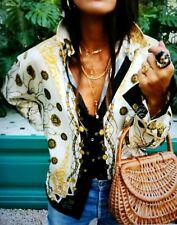 New Zara Woman Scarf Chain Print Blouse Long Sleeves Ecru XL Extra Large NWT AW