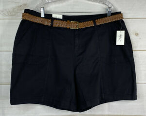 Style & Co Mid Rise Belted Cargo Shorts Plus Sz 18W Deep Black Stretch NWT
