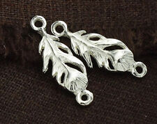 925 Sterling Silver 2 Feather  Links, Connectors 7.5x21 mm.