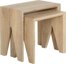 FINLEY NEST OF 2 TABLES IN MEDIUM OAK VENEER *FREE NEXT DAY DELIVERY