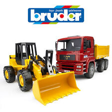 BRUDER 1:16 MAN CONSTRUCTION TIPPER TRUCK w LOADER SET 2752 SAND PIT TOY