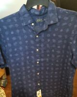 NWT Polo Ralph Lauren Men's Shirt Button Down Short Sleeve Classics Blue XL TG