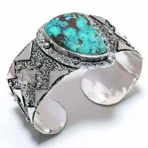 Chrysocolla Gemstone Handmade 925 Sterling Silver Cuff Bracelet Adjustable m371