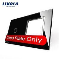 2 Fach Glasrahmen für 1 Gang Touch Lichtschalter + Steckdose Schwarz Livolo