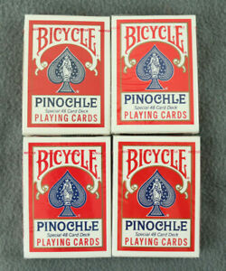 Lot of 4 New Bicycle Pinochle Playing Cards Deck