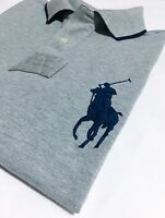 POLO Ralph Lauren Polo Shirt Men's Custom Fit Grey Marl Big Pony Short Sleeve