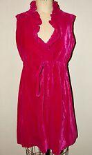 VINTAGE 60'S *RASPBERRY PINK VELVET RUFFLED MINI DRESS*S/M