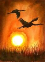 ACEO birds sunset landscape original painting art card signed