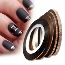 4Pcs Rose Gold Matte Glitter Nail Striping Tape Adhesive Stickers Decor Tools