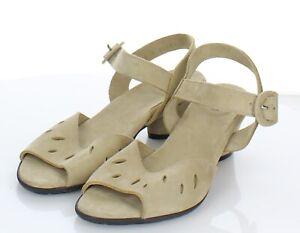P34  NEW Women's Sz 37 M Arche Nubuck Leather Ankle Strap Sandal  In Beige